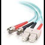 C2G 85527 10m SC ST Turquoise fiber optic cable