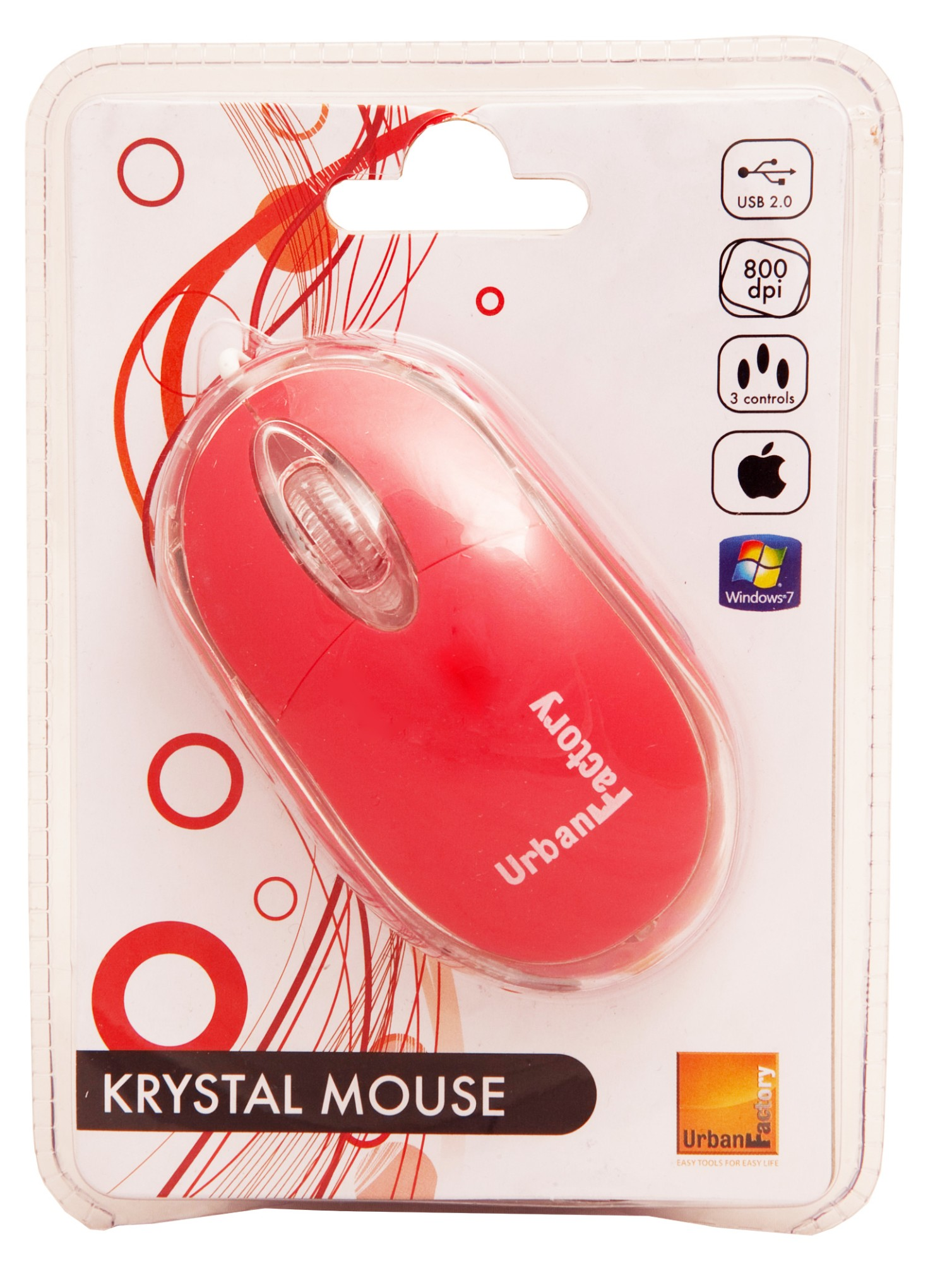 Urban Factory Bdm05uf Mice Usb Optical 800 Dpi Ambidextrous Red Mouse