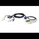 Aten 2L-7DX2U cable interface/gender adapter HDB-15 Male, USB A, Mini Stereo Jack DVI-I (Single Link), USB B, Mini Stereo Jack Black,Green,Pink