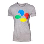 Nintendo Men's Controller Button T-Shirt, Large, Grey (TS289010NTN-L)