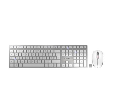 CHERRY DW 9000 SLIM keyboard RF Wireless + Bluetooth AZERTY French Silver, White