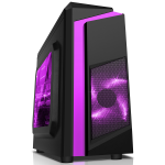 CIT F3 Black Micro-ATX Case With 12cm Purple LED Fan & Purple Stripe