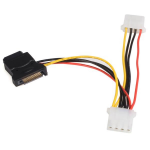 StarTech.com LP4SATAFM2L Internal 0.153m SATA Molex (4-pin) Black power cable