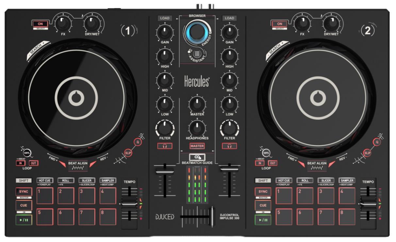Hercules DJControl Inpulse 300 DJ-controller Zwart Digital Vinyl System (DVS) scratcher