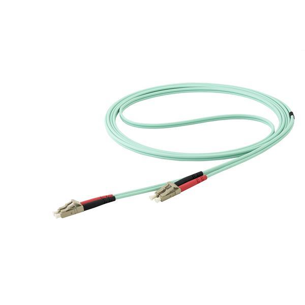 StarTech.com Cable de 15m de Fibra Óptica Multimodo Dúplex 50/125 LC a LC - Aqua - OM4 - LSZH
