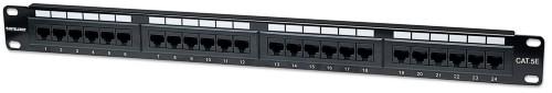 Intellinet Patch Panel, Cat5e, UTP, 24-Port, 1U, Black
