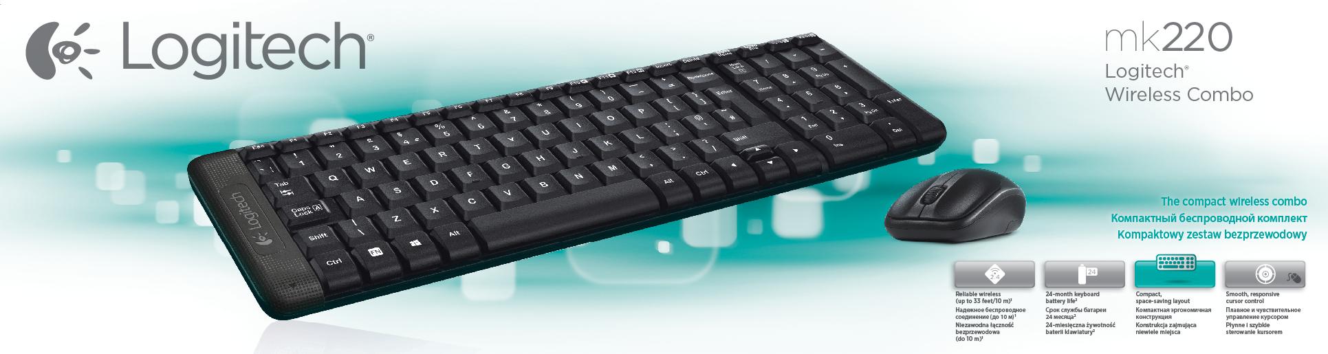 Logitech G MK220 keyboard RF Wireless QWERTY US International Black