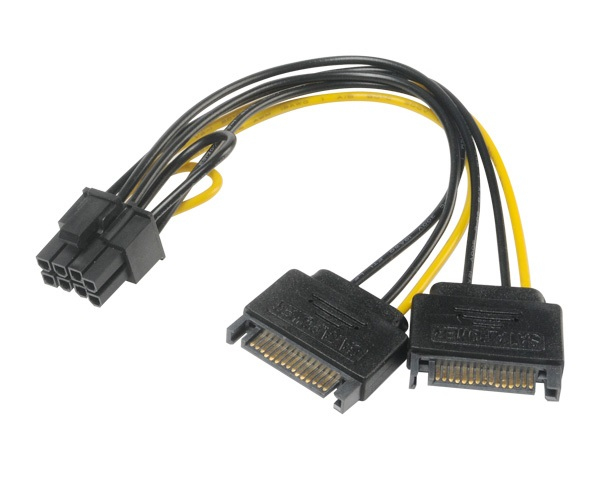 Akasa AK-CBPW19-15 cable interface/gender adapter 6+2pin PCIe SATA Black