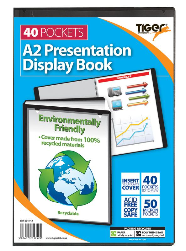 Tiger A2 Presentation Display Book Black 40 Pocket