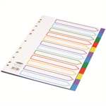Concord Subject Dividers Polypropylene Europunched 12-Part A4 Assorted Ref 65999