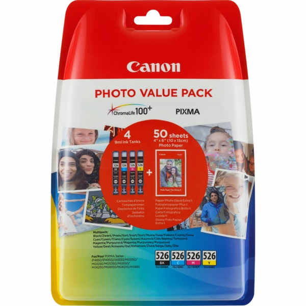 Canon 4540B018 (CLI-526) Ink cartridge multi pack, 450 pages, 9ml, Pack qty 4