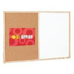 Bi-Office Wood Frame Cork/Drywipe Board 900x600mm