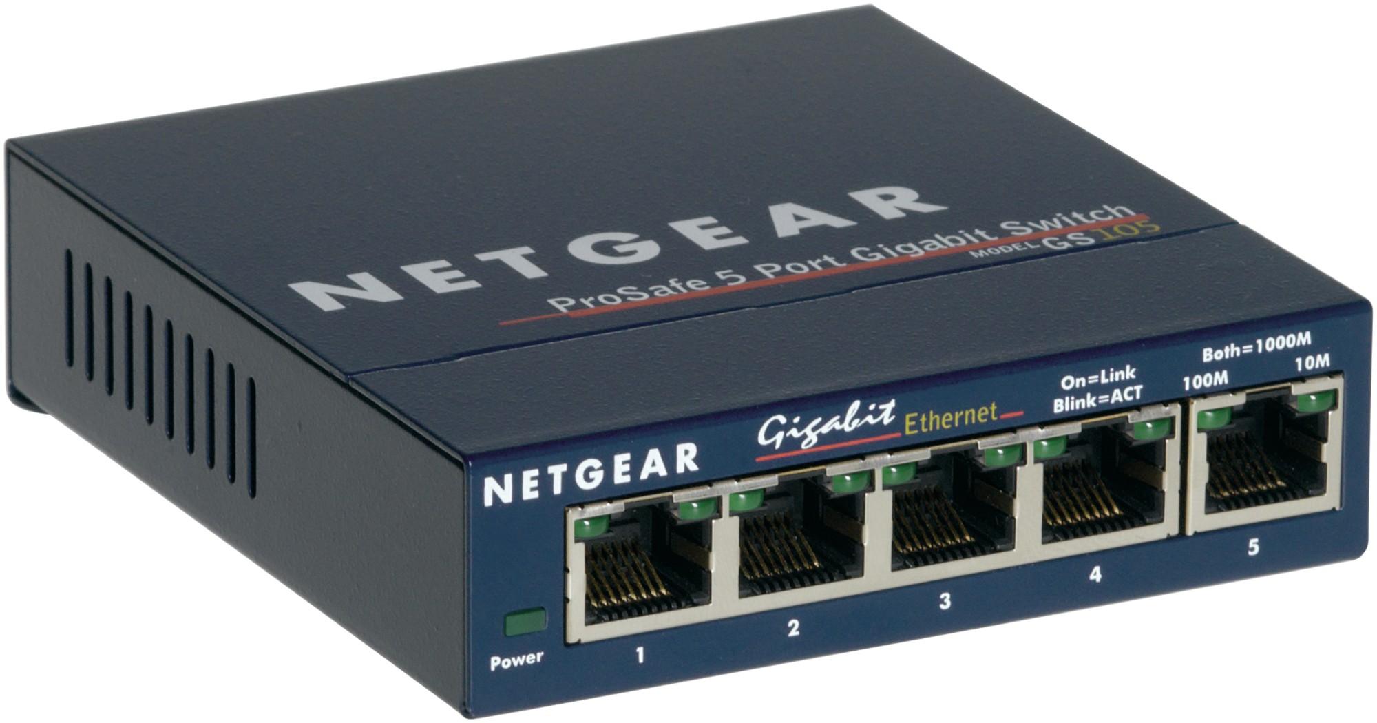 Netgear GS105 No administrado Gigabit Ethernet (10/100/1000) Azul