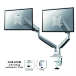 """Newstar Full Motion Dual Desk Mount (clamp & grommet) for two 10-32"""" Monitor Screens, Height Adjustable (gas spring) - Silver"""