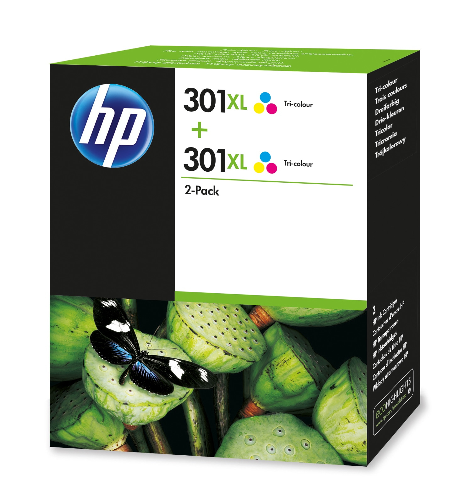 HP 301XL 2-pack Tri-color Original Cian, Magenta, Amarillo 2 pieza(s)