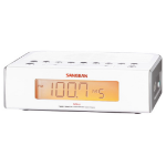 Sangean AM/FM Digital Tuning Clock Radio Clock Silver,White Clock/Portable Radio