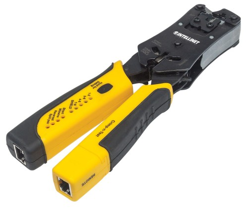 Intellinet Universal Modular Plug Crimping Tool and Cable Tester, 2-in-1 Crimper and Cable Tester: Cuts, Strips, Terminates and Tests, RJ45/RJ11/RJ12/RJ22