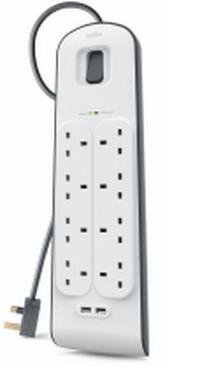 Belkin BSV804AF2M surge protector White 8 AC outlet(s) 2 m