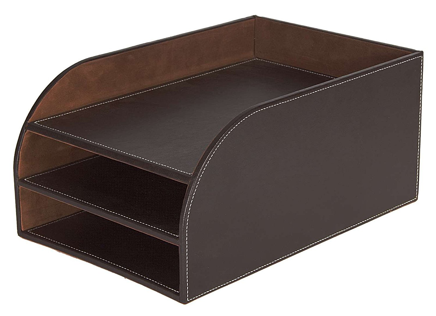 Osco Faux Leather 3 Tier Letter Tray Brown