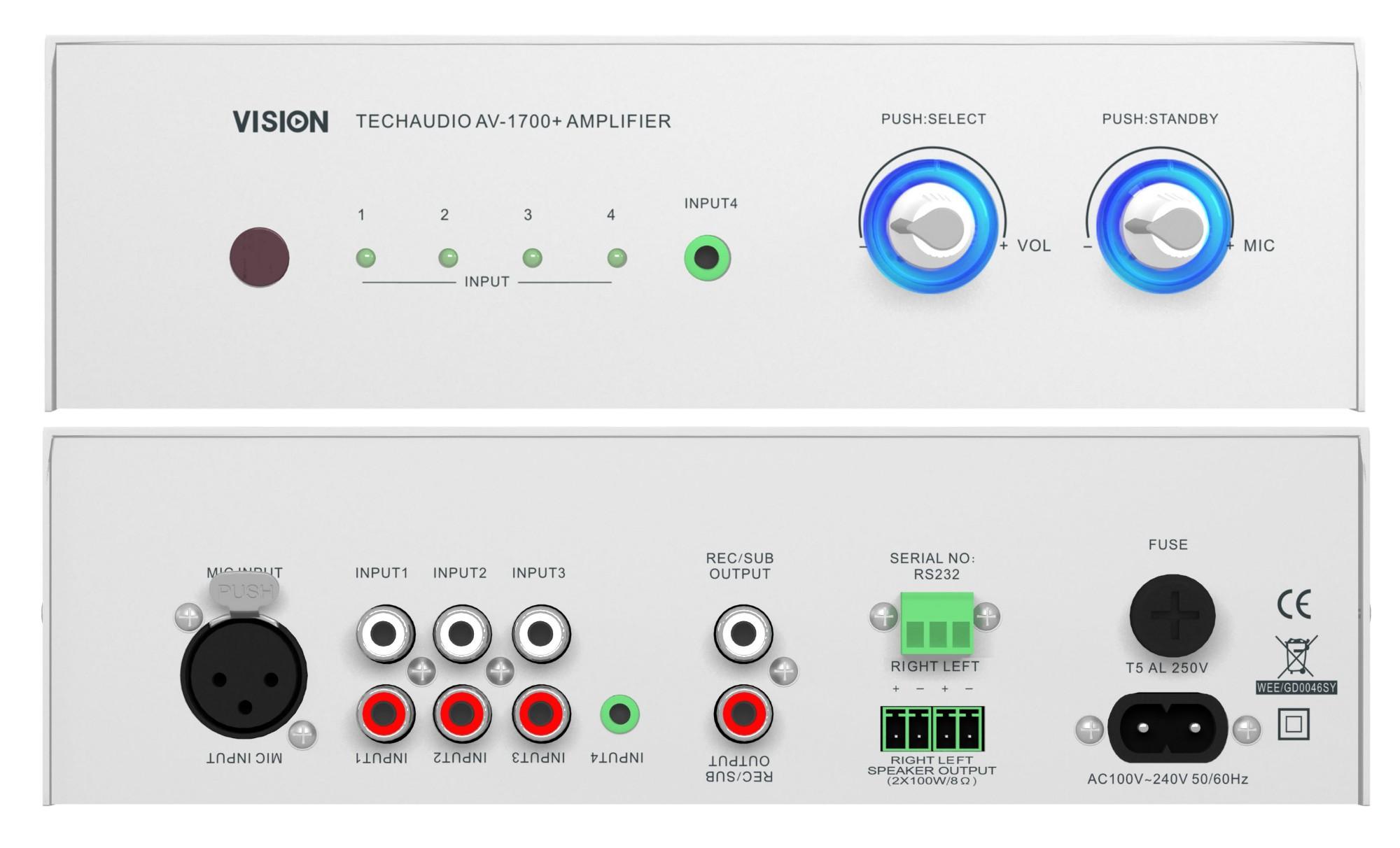 Vision AV-1700+ Wired White audio amplifier