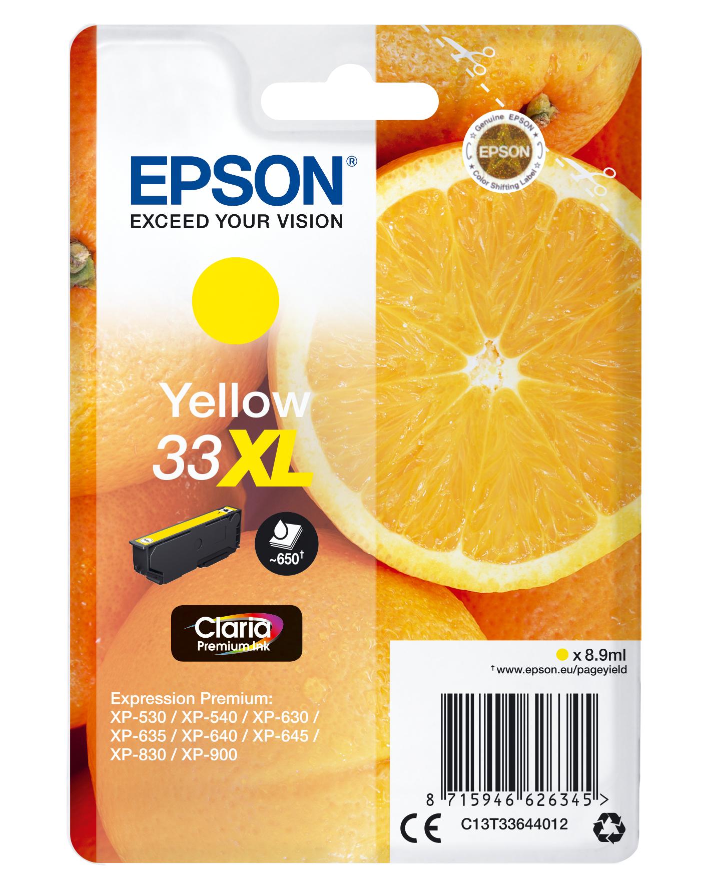 Epson Oranges Singlepack Yellow 33XL Claria Premium Ink