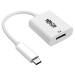 "Tripp Lite U444-06N-DP8W video cable adapter 5.98"" (0.152 m) USB Type-C DisplayPort White"