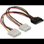 DeLOCK SATA 15pin > 2x 4pin Molex female 20cm Multicolour power cable