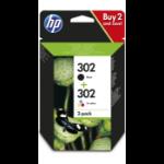 HP X4D37AE (302) Printhead cartridge multi pack, 190pg + 165pg, Pack qty 2