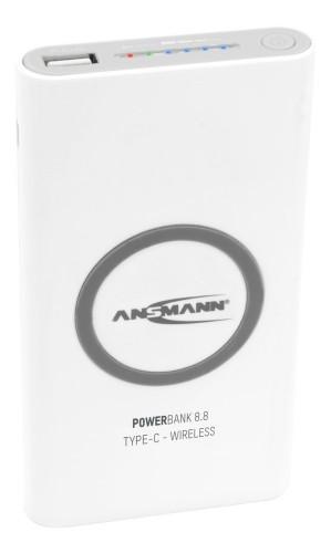 Ansmann Powerbank 8.8 power bank White Lithium Polymer (LiPo) 8000 mAh Wireless charging