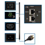 Tripp Lite 3.3–3.7kW Single-Phase Monitored PDU, LX Platform Interface, 208/230V Outlets (20 C13/4 C19), C20/L6-20P, 0U 1.8 m