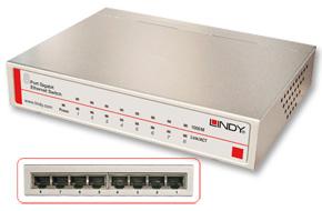 Lindy Network Switch - Gigabit, Desktop, 8 Port, 10/100/1000 Managed Silver Power over Ethernet (PoE)