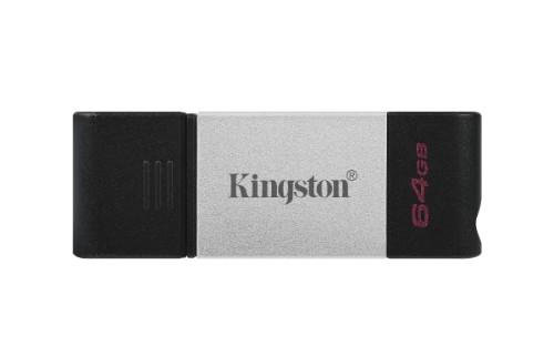 Kingston Technology DataTraveler 80 USB flash drive 64 GB USB Type-C 3.2 Gen 1 (3.1 Gen 1) Black, Silver
