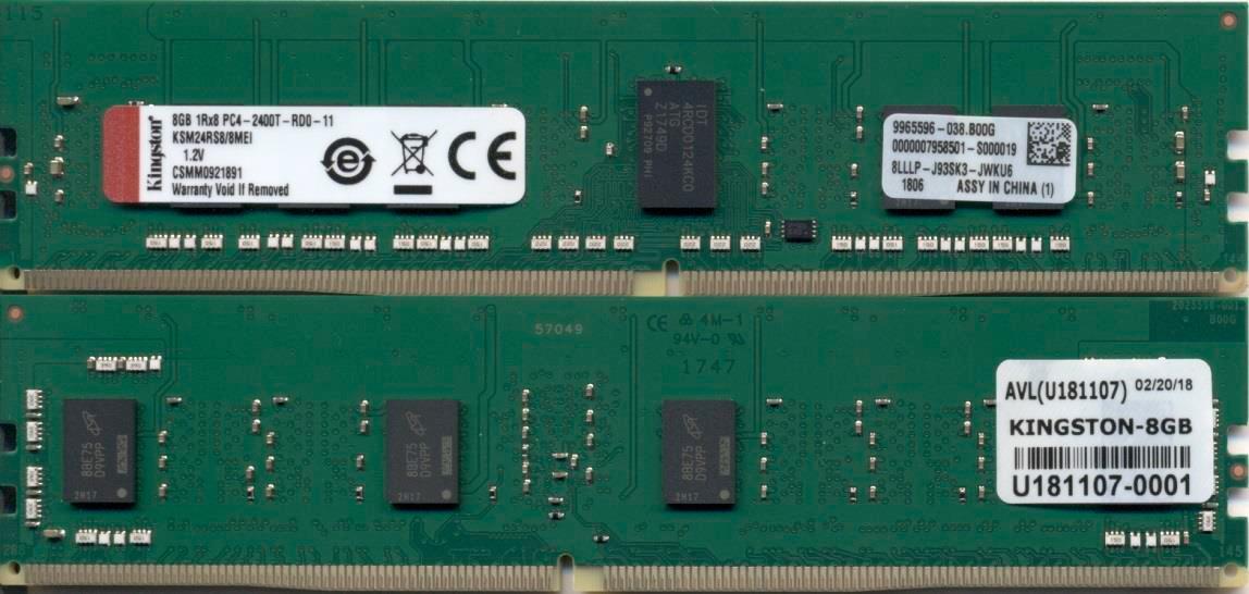 Kingston Technology KSM24RS8/8MEI módulo de memoria 8 GB 1 x 8 GB DDR4 2400 MHz ECC