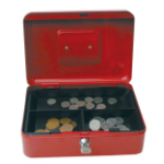 Cathedral Products Value 25cm (10 Inch) key lock Metal Cash Box Red