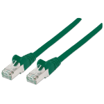Intellinet Network Patch Cable, Cat5e, 1m, Green, CCA, SF/UTP, PVC, RJ45, Gold Plated Contacts, Snagless, Booted, Polybag