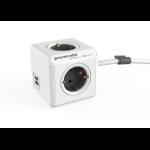 Allocacoc PowerCube base múltiple 1,5 m 4 salidas AC Interior Gris, Blanco