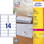 Avery L7163-100 self-adhesive label Rounded rectangle Permanent White 1400 pc(s)
