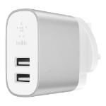 Belkin F7U049MYSLV mobile device charger Silver, White Indoor