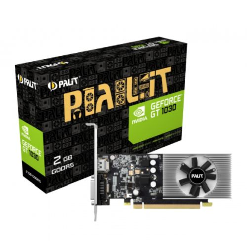 Palit GeForce GT1030, 2GB GDDR5, PCIe3, DVI, HDMI, 1468MHz Clock, Low Profile (No Bracket)