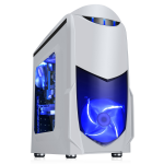 GameMax Nero White MATX Case with Front 12cm Blue LED Fan USB3 and Side Window