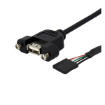 StarTech.com 3 ft Panel Mount USB Cable - USB A to Motherboard Header Cable F/F