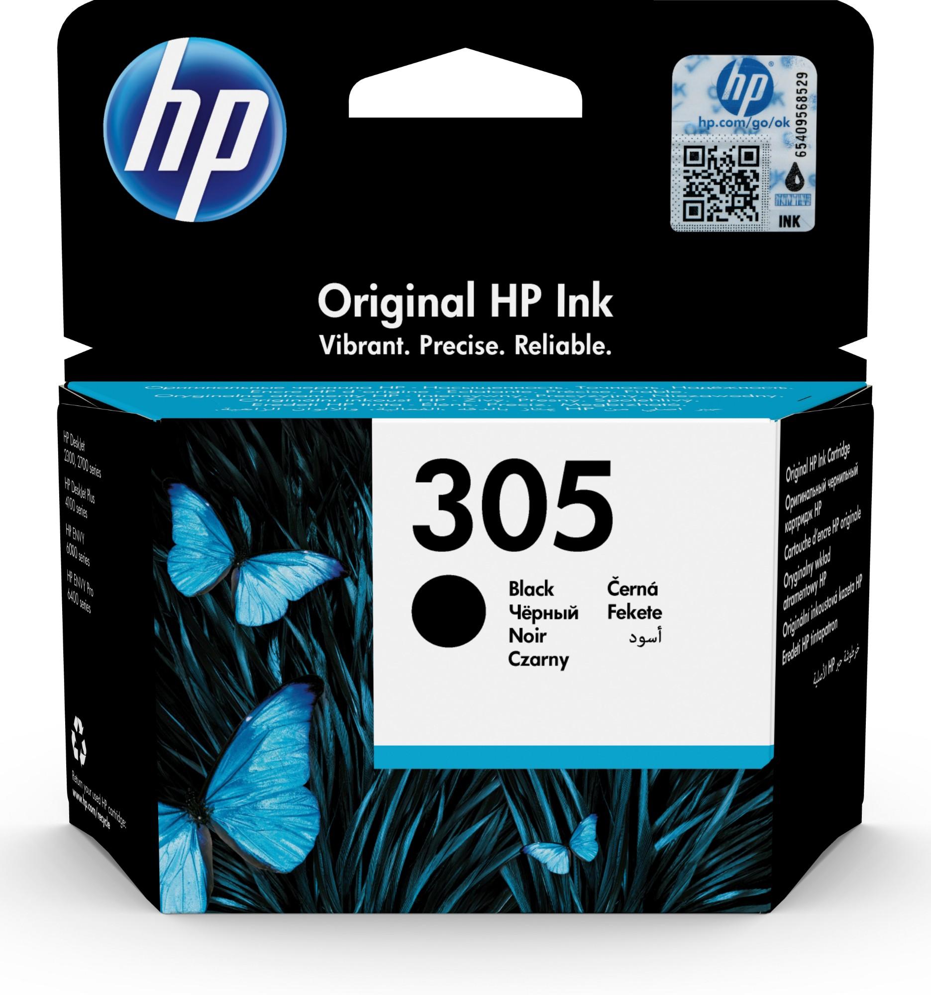 HP 305 Black Original Ink Cartridge Negro 1 pieza(s) Rendimiento estándar