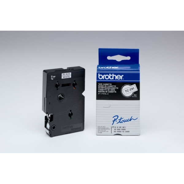 Brother TC-291 P-Touch Ribbon, 9mm x 7,7m