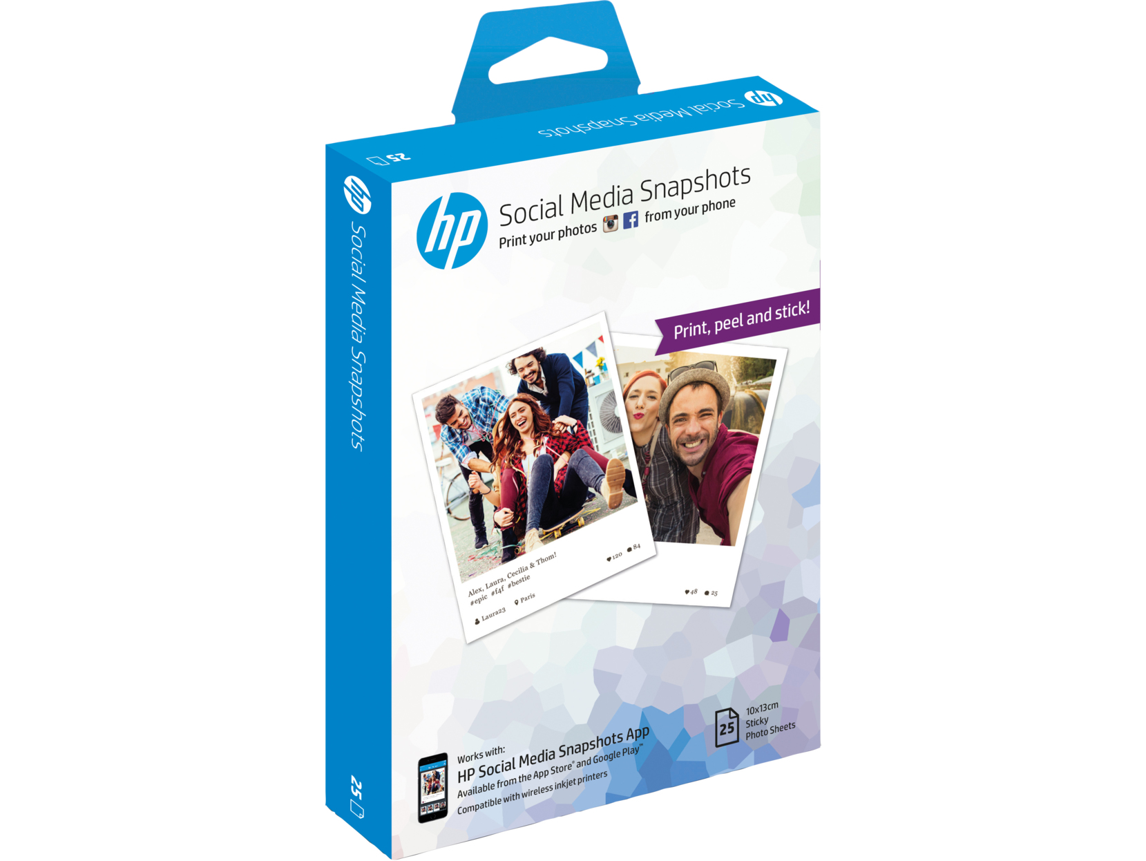 HP Social Media Snapshots Removable Sticky Photo Paper-25 sht/10 x 13 cm