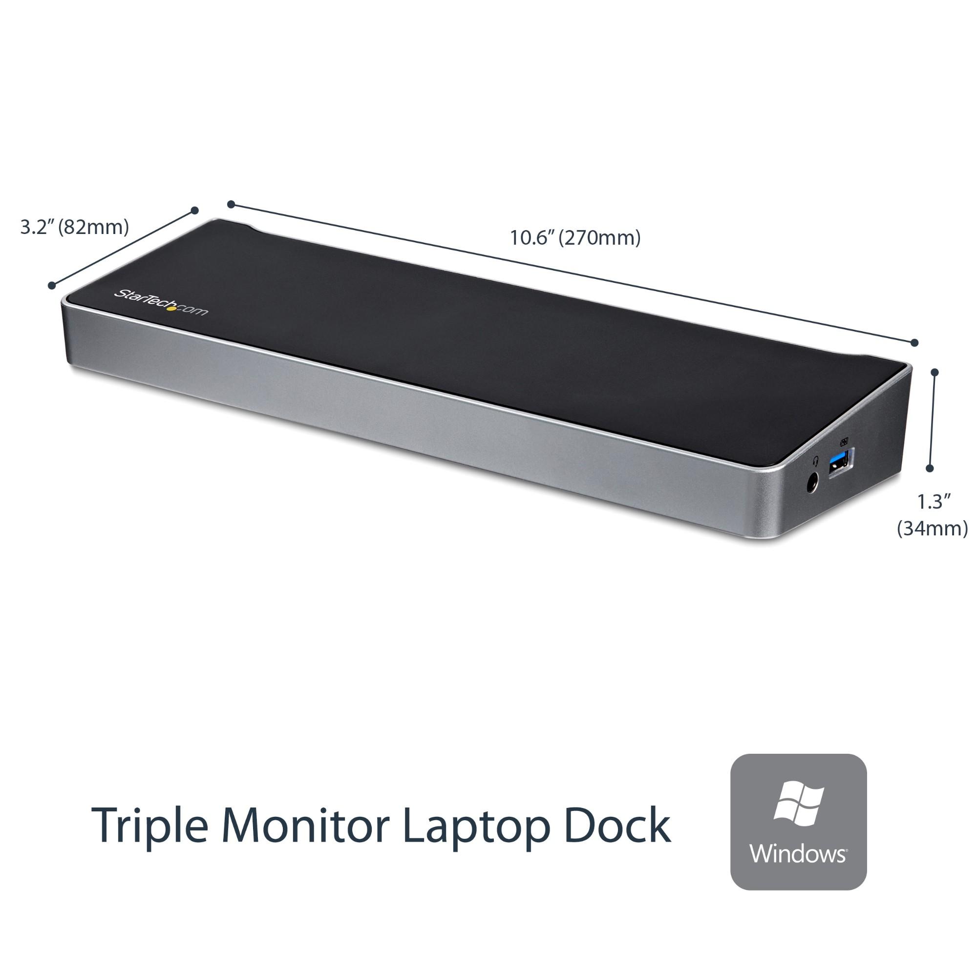 StarTech.com Docking Station USB 3.0 para Tres Monitores - 1x HDMI - 2x DisplayPort