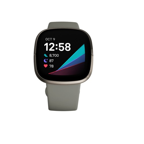 Fitbit Versa Sense Sage Grey Silver AMOLED GPS (satellite)