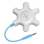 Belkin RockStar 1x 3.5mm 5x 3.5mm Blue, White cable interface/gender adapter