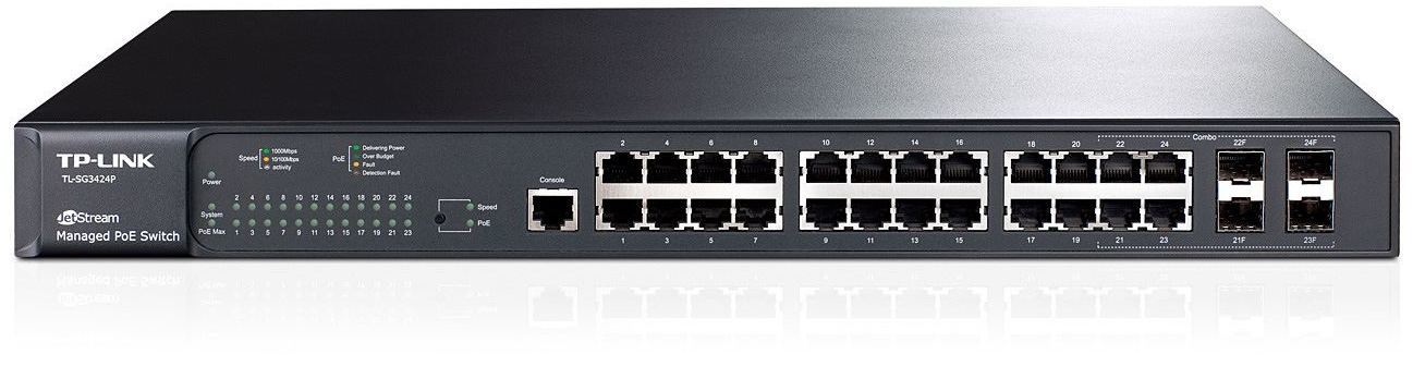 TP-LINK TL-SG3424P Managed L2 Power over Ethernet (PoE) 1U Black network switch