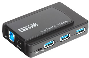 ST Lab U-770 480Mbit/s Black interface hub