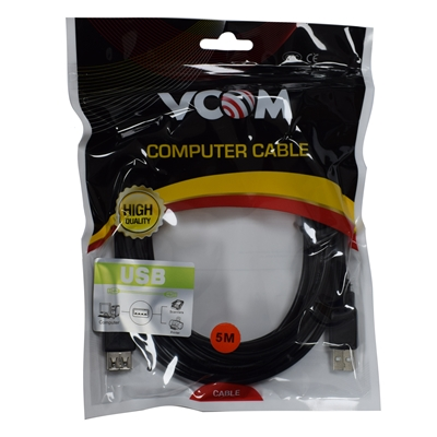 VCOM USB 2.0 A (M) to USB 2.0 A (F) 5m Black Retail Packaged Extension Data Cable